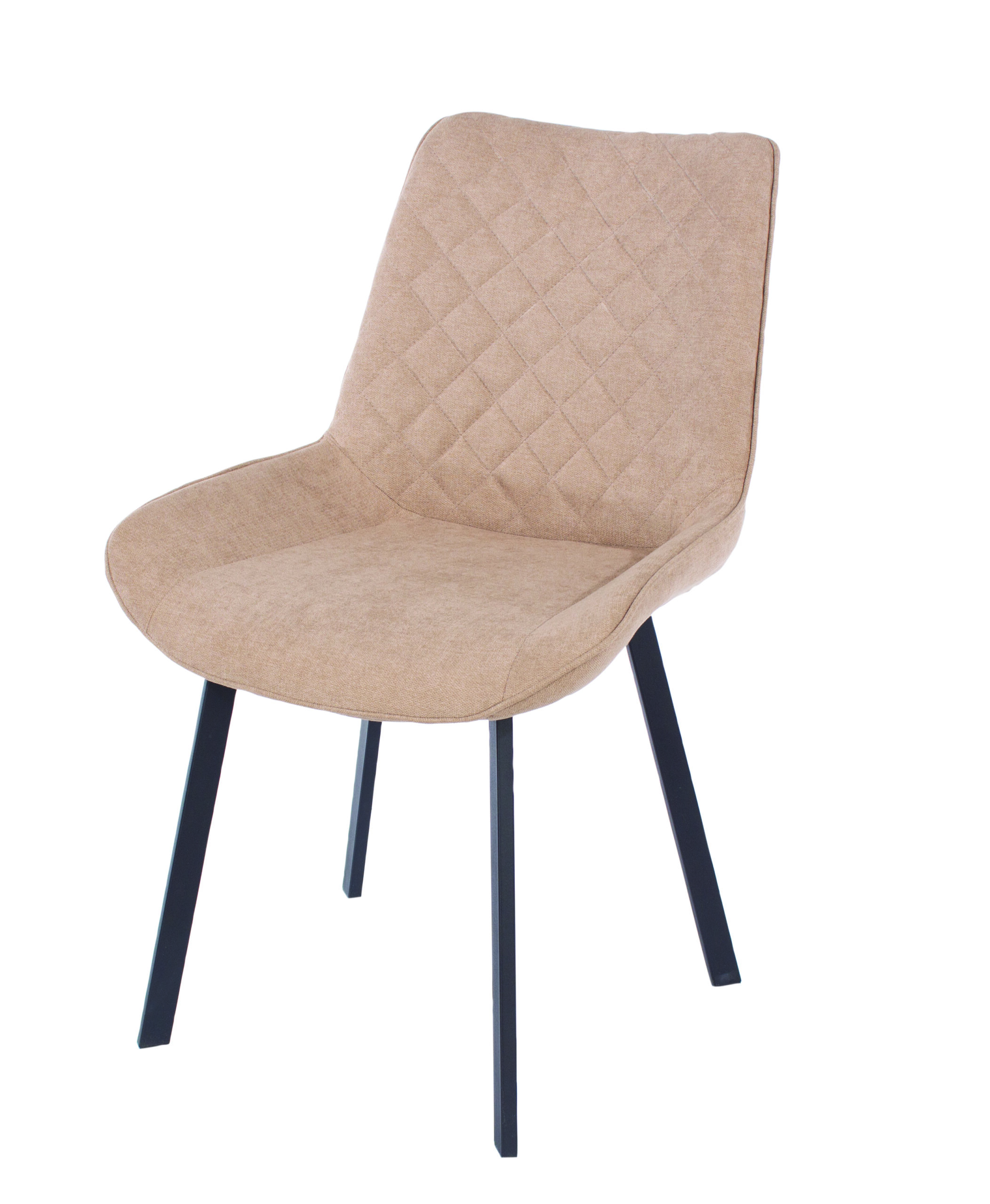 Penny Sand Fabric Chairs Black Metal Legs (Pair)