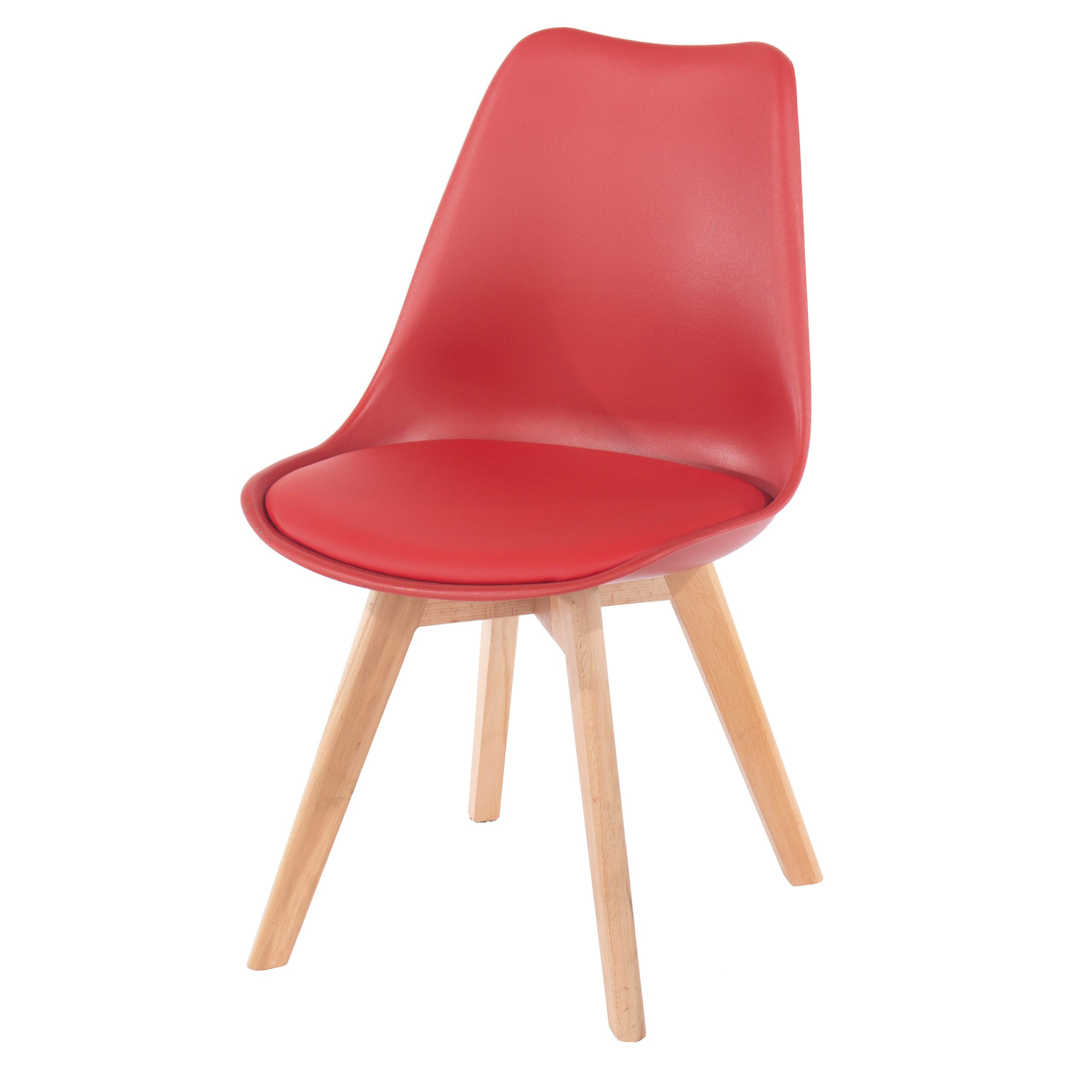 Penny red upholstered plastic chairs with wood legs (pair)