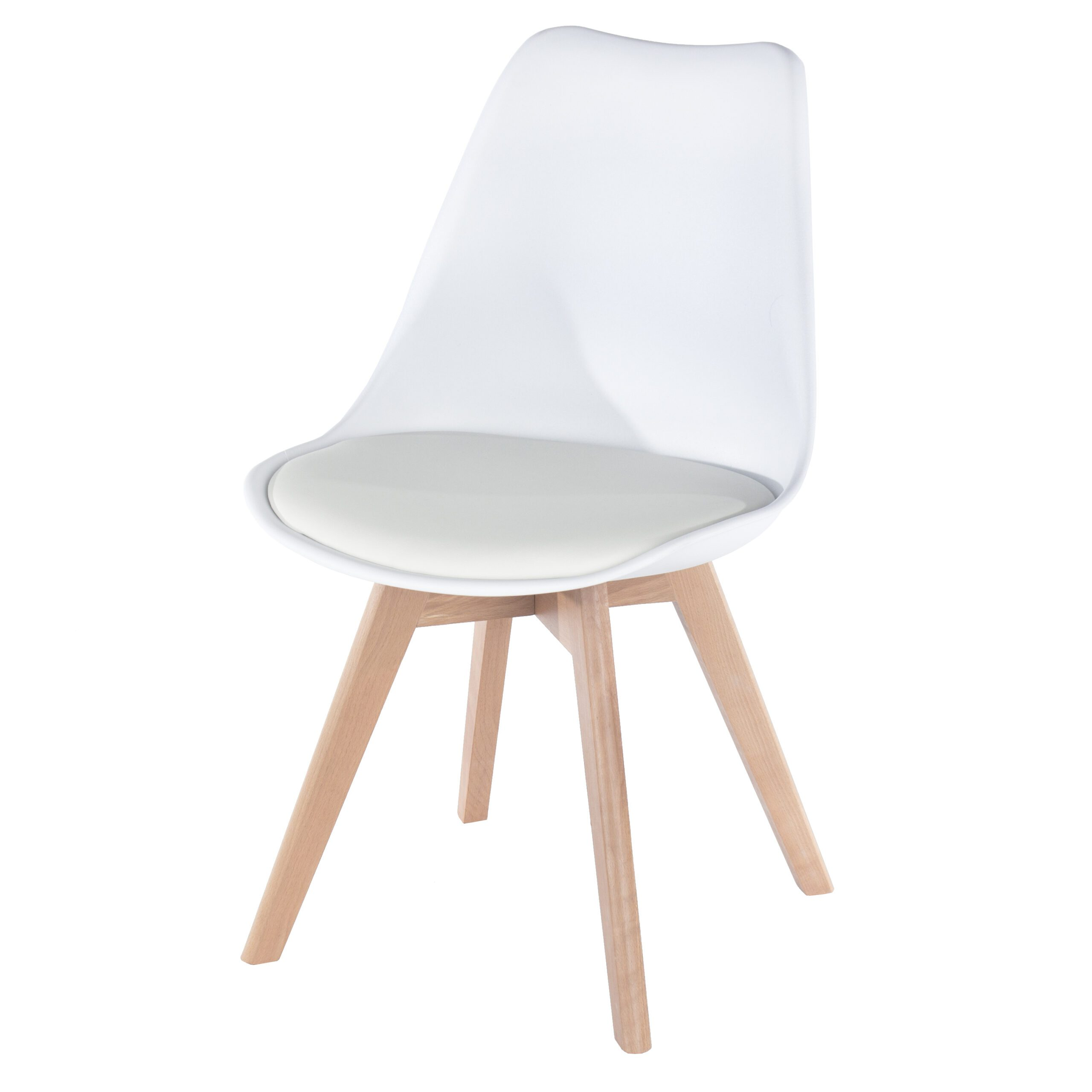 Penny white upholstered plastic chairs with wood legs (pair)