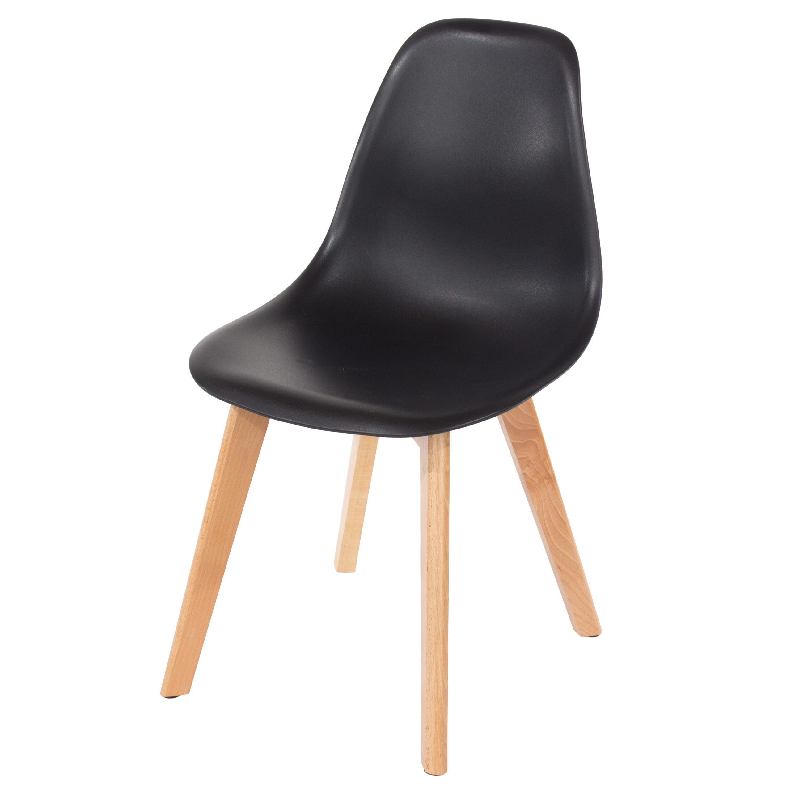 Penny black plastic chairs with wood legs (pair)