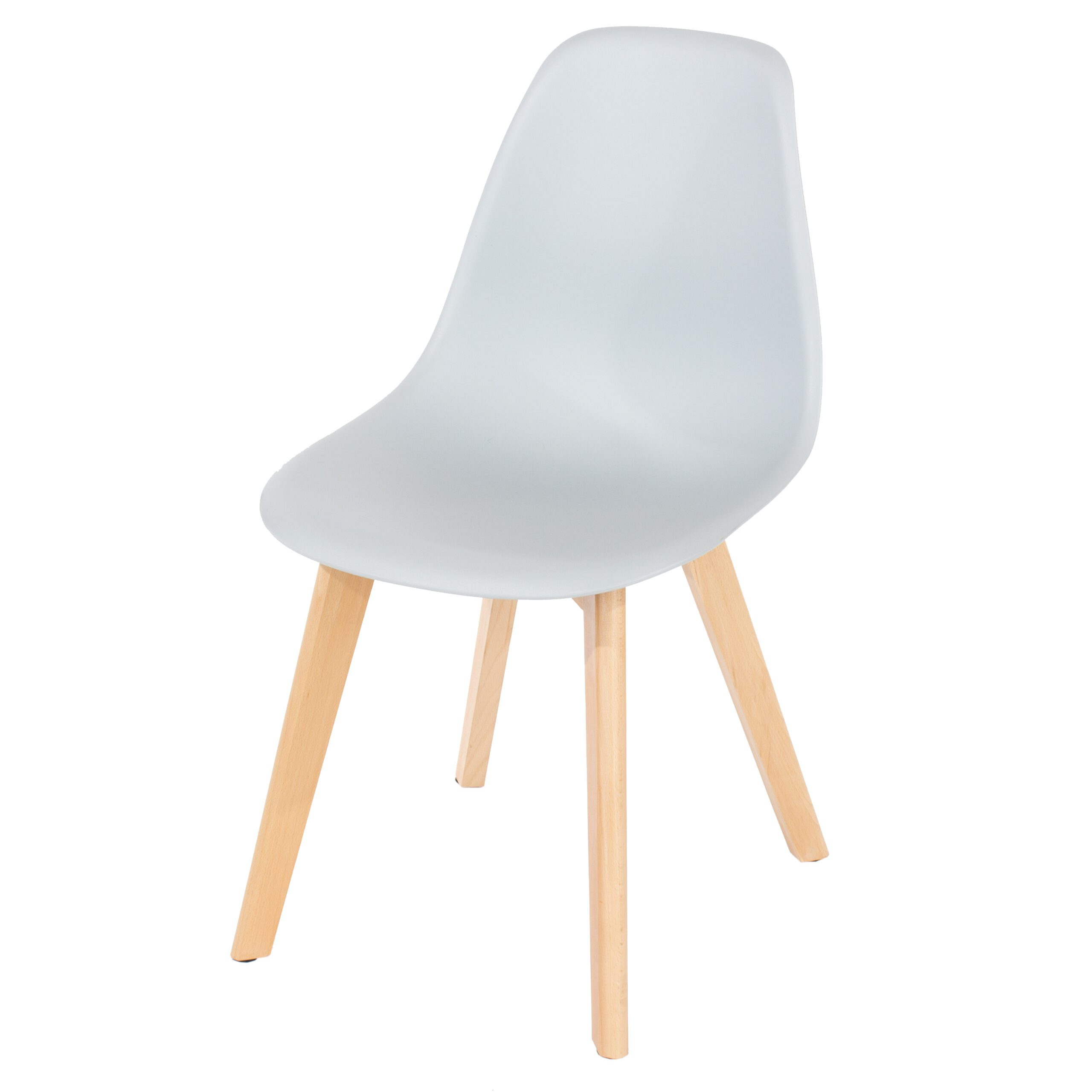 Penny grey plastic chairs with wood legs (pair)