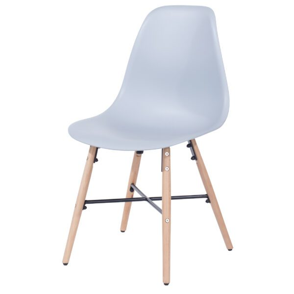 Penny grey plastic chairs with wood legs & metal cross rails (pair)