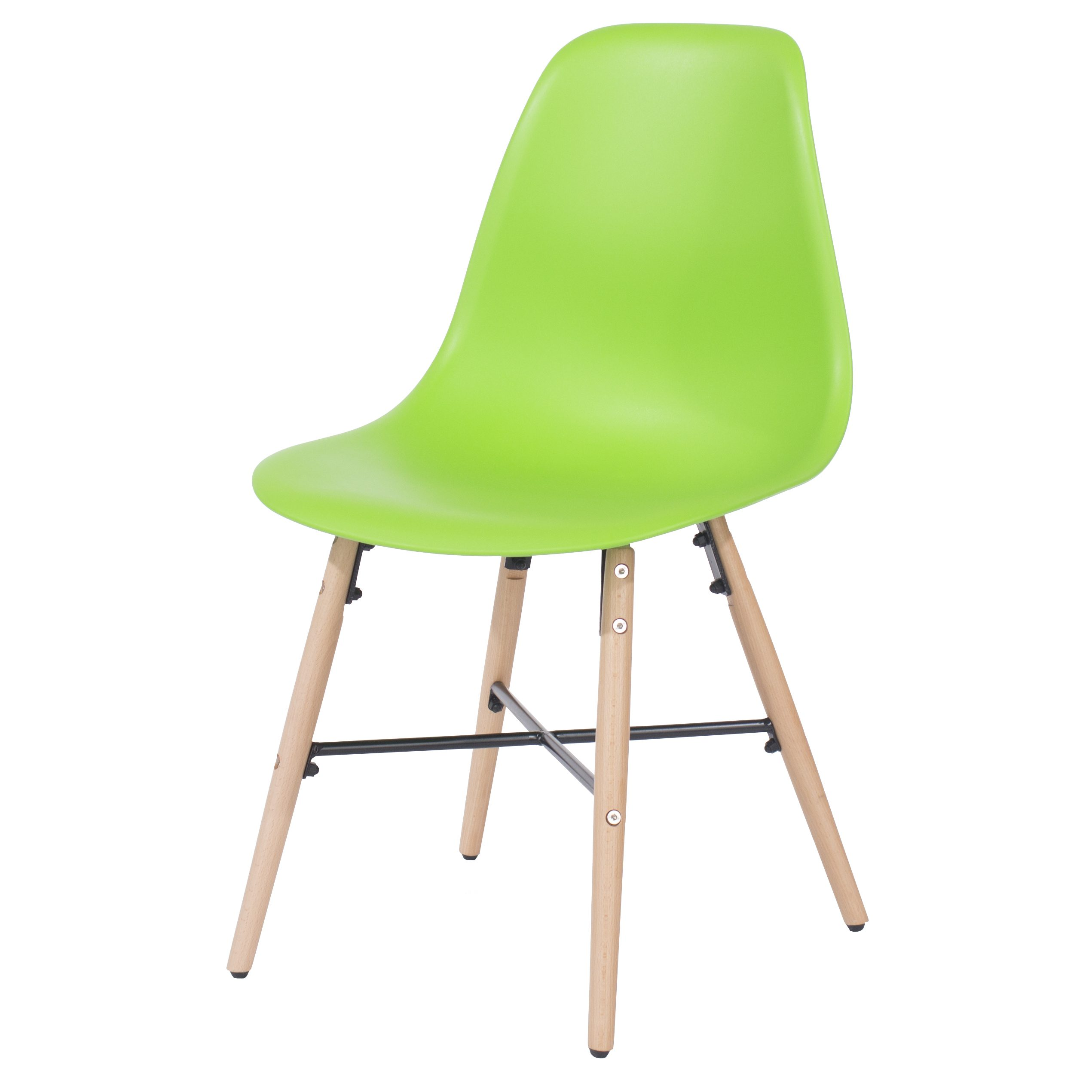 Penny green plastic chairs with wood legs & metal cross rails (pair)