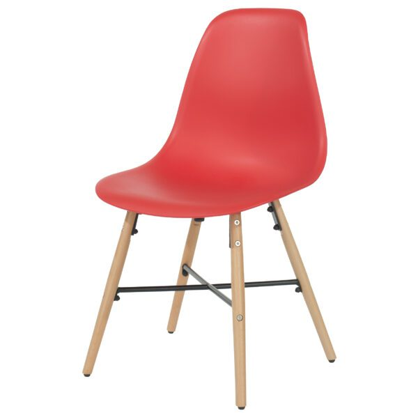 Penny red plastic chairs with wood legs & metal cross rails (pair)