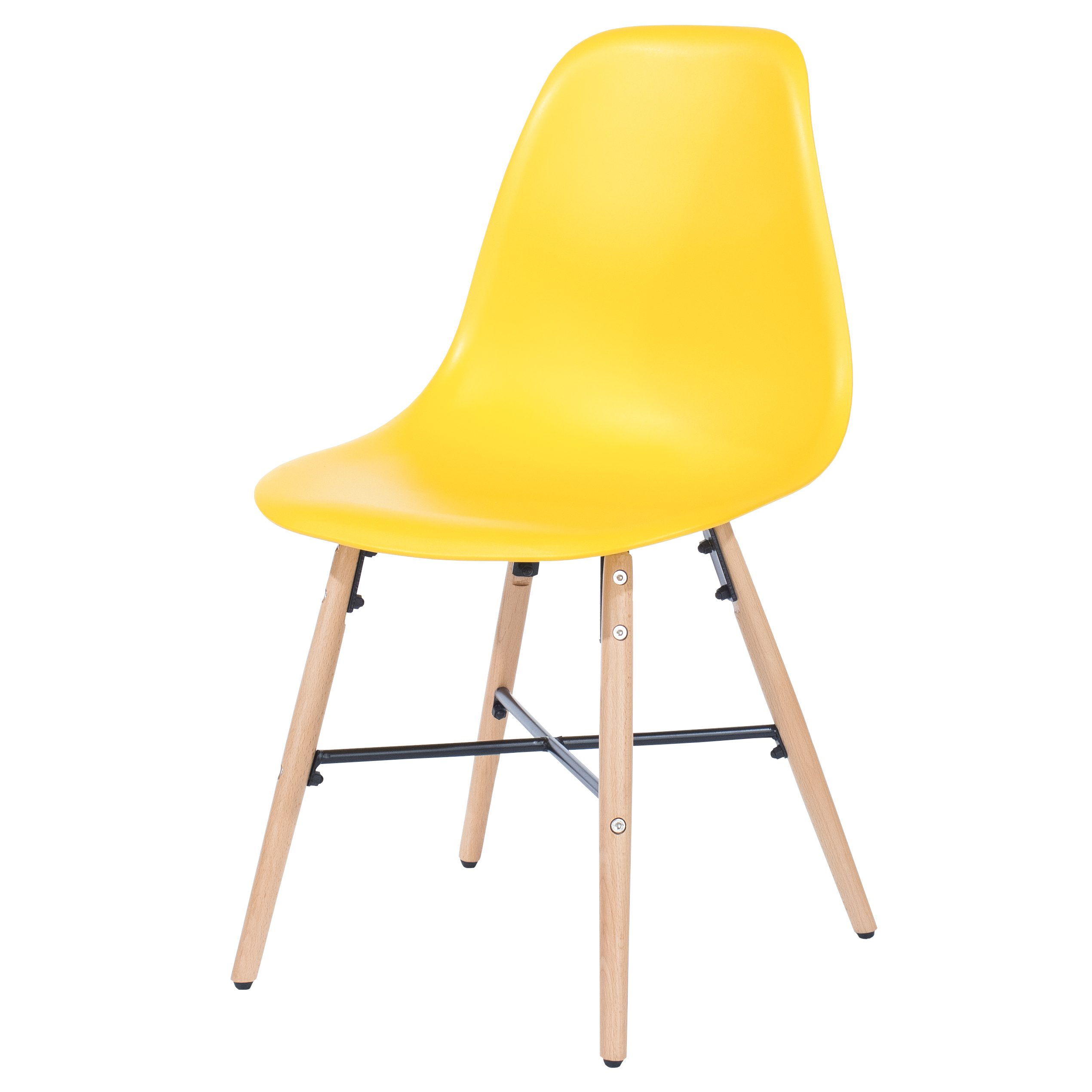 Penny yellow plastic chairs with wood legs & metal cross rails (pair)