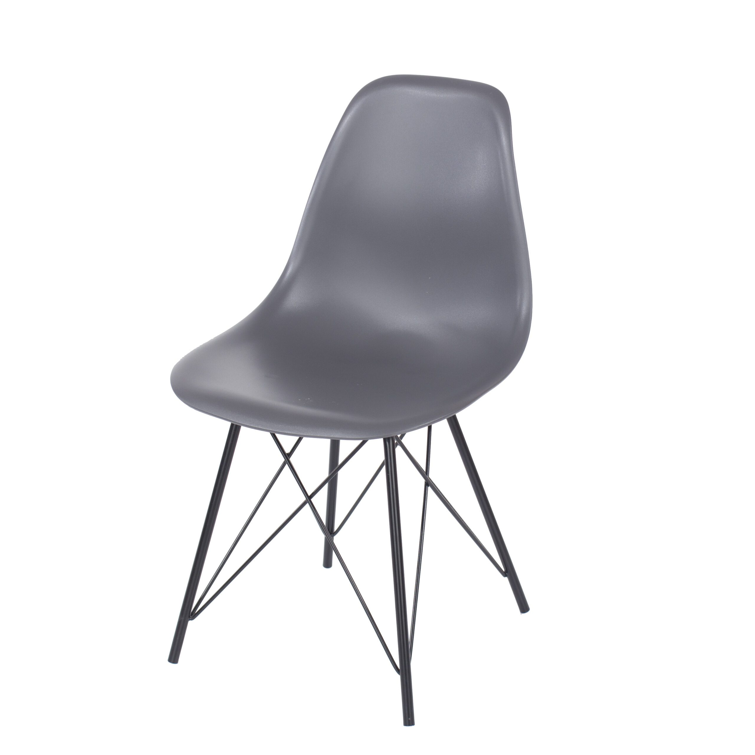 Penny charcoal plastic chairs with black metal legs (pair)