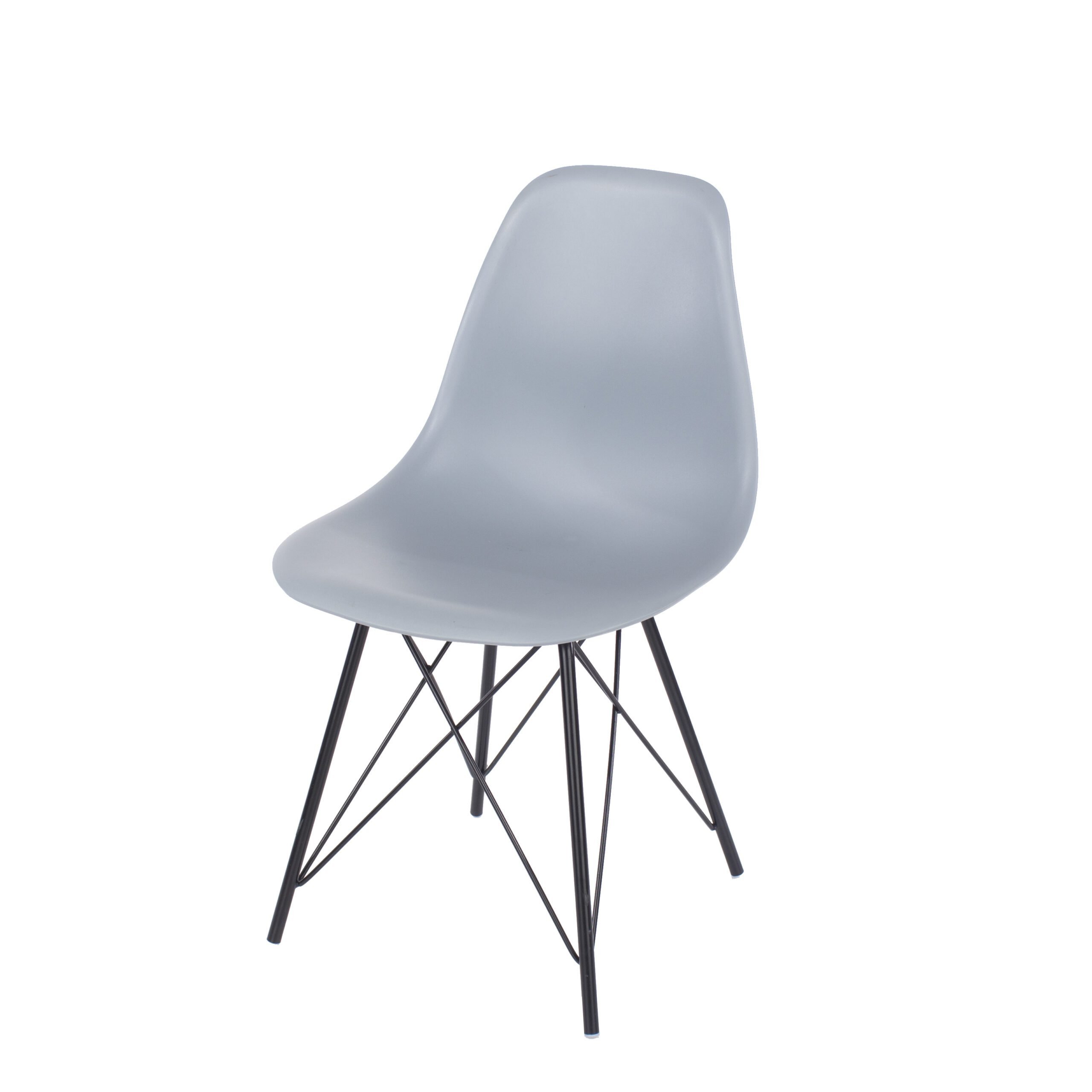Penny grey plastic chairs with black metal legs (pair)