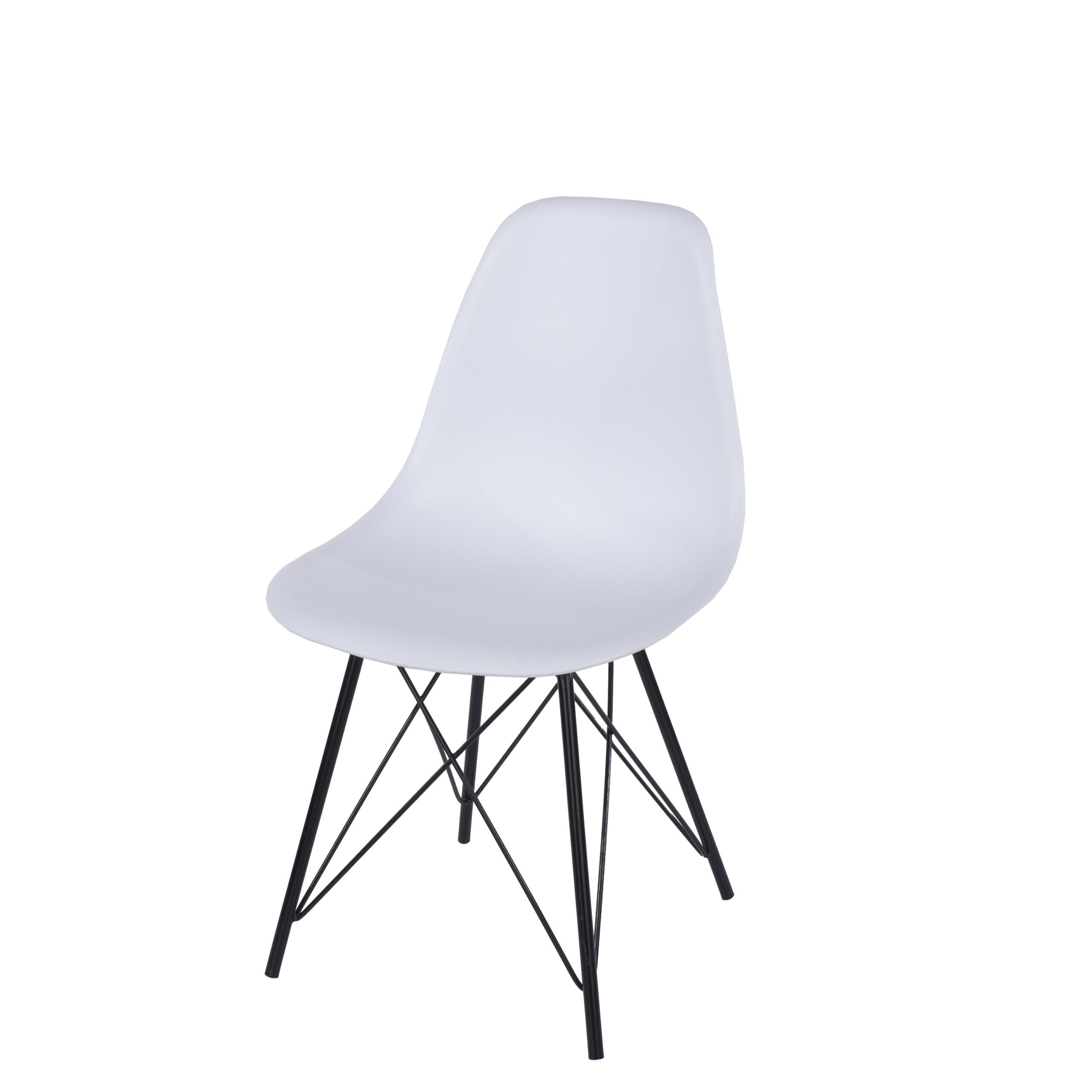 Penny white plastic chairs with black metal legs (pair)