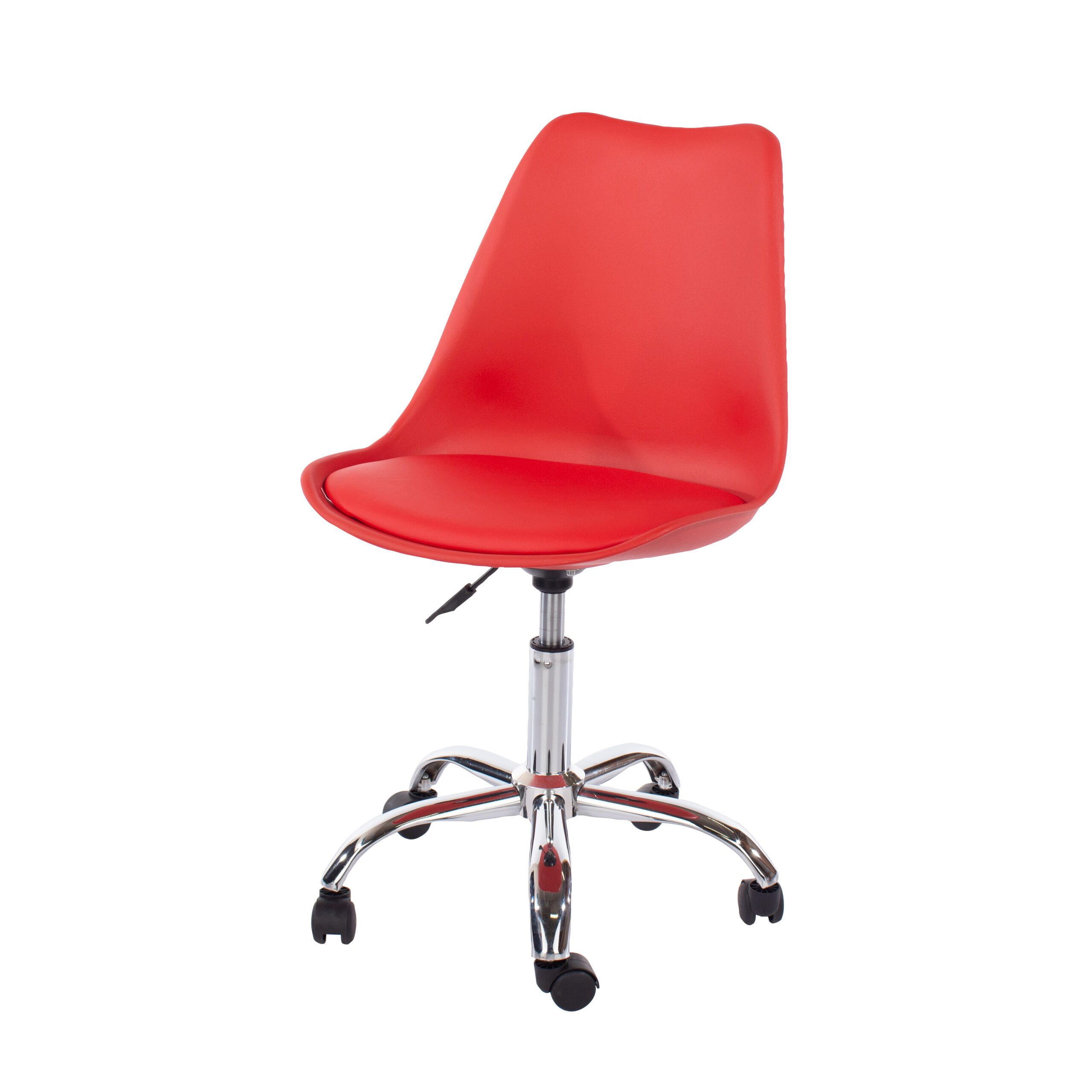 Penny home studio chair with upholstered seat in red