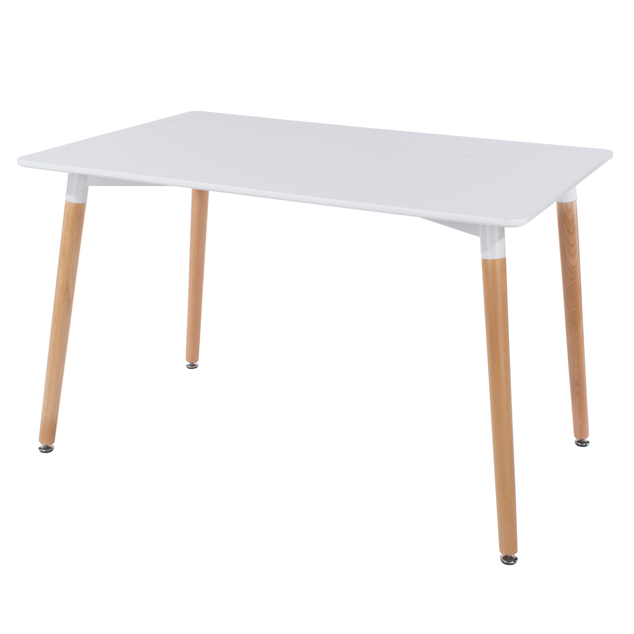 Penny rectangular table with wooden legs