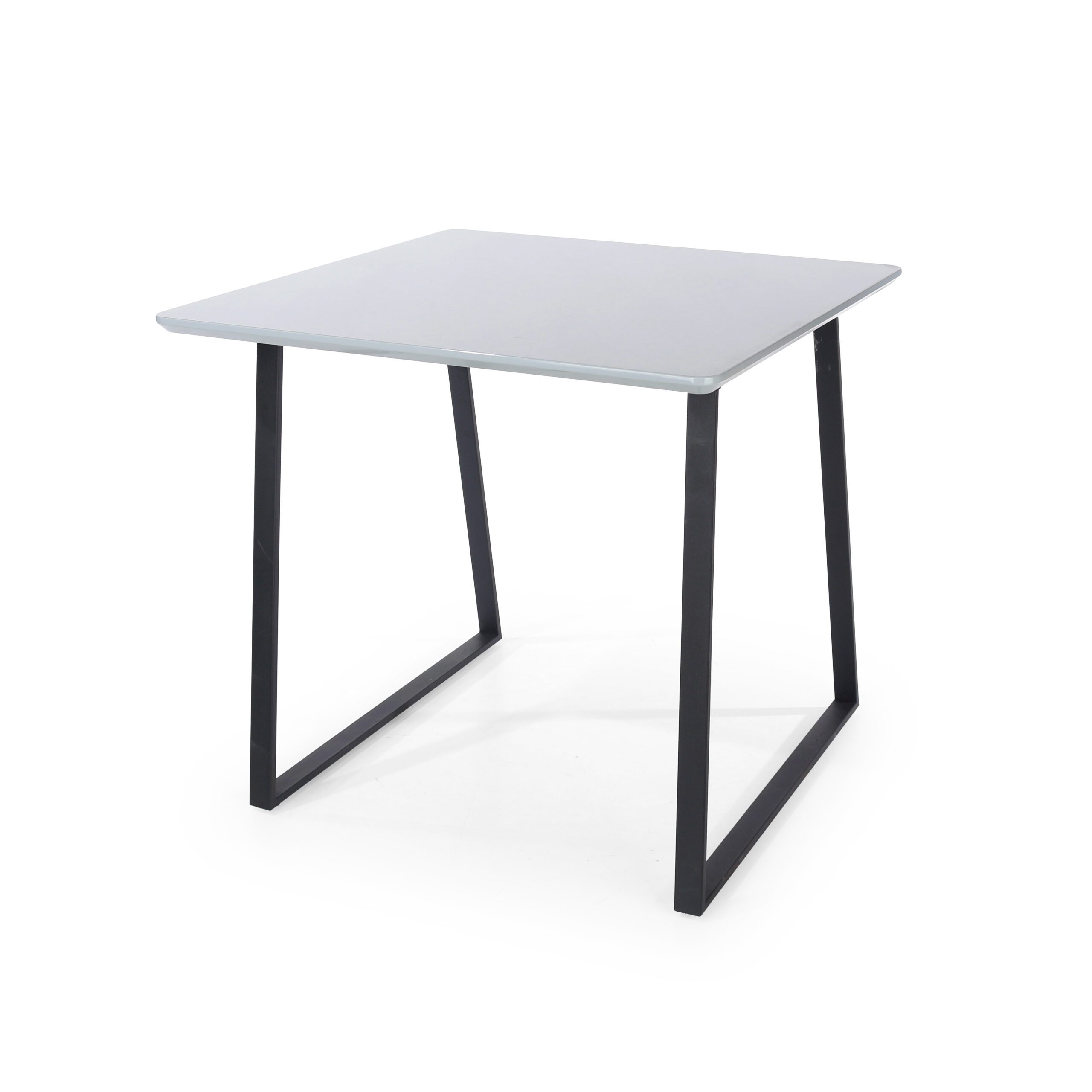 Penny square table with black metal legs