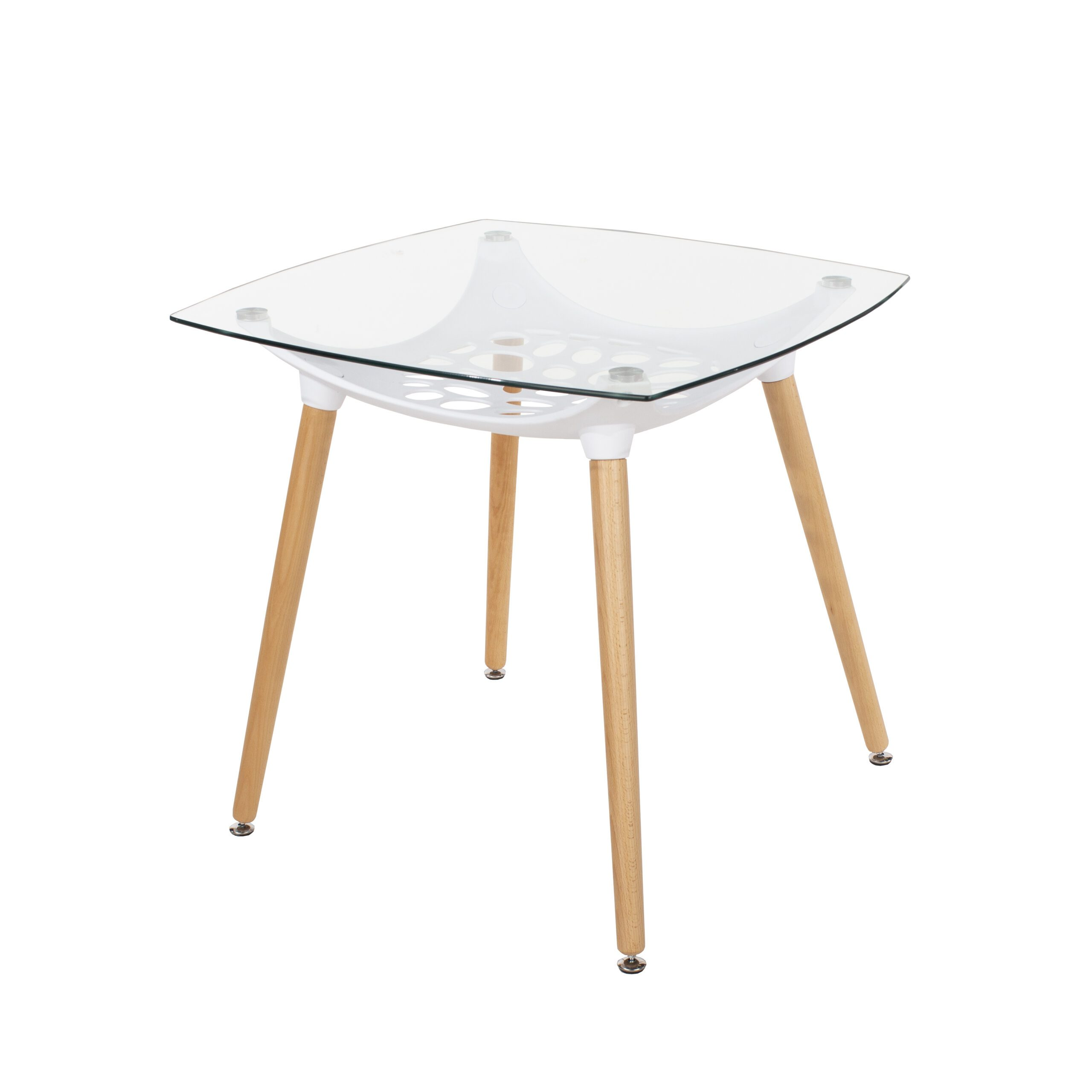 Penny Square Glass Top Table White Plastic Underframe & Wooden Legs