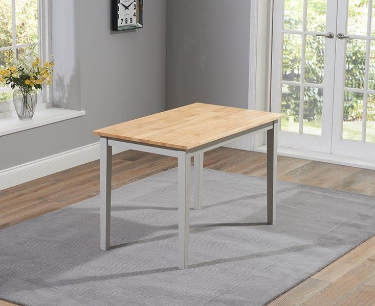 Chester Solid Hardwood & Painted 115cm Dining Table - Oak & Grey