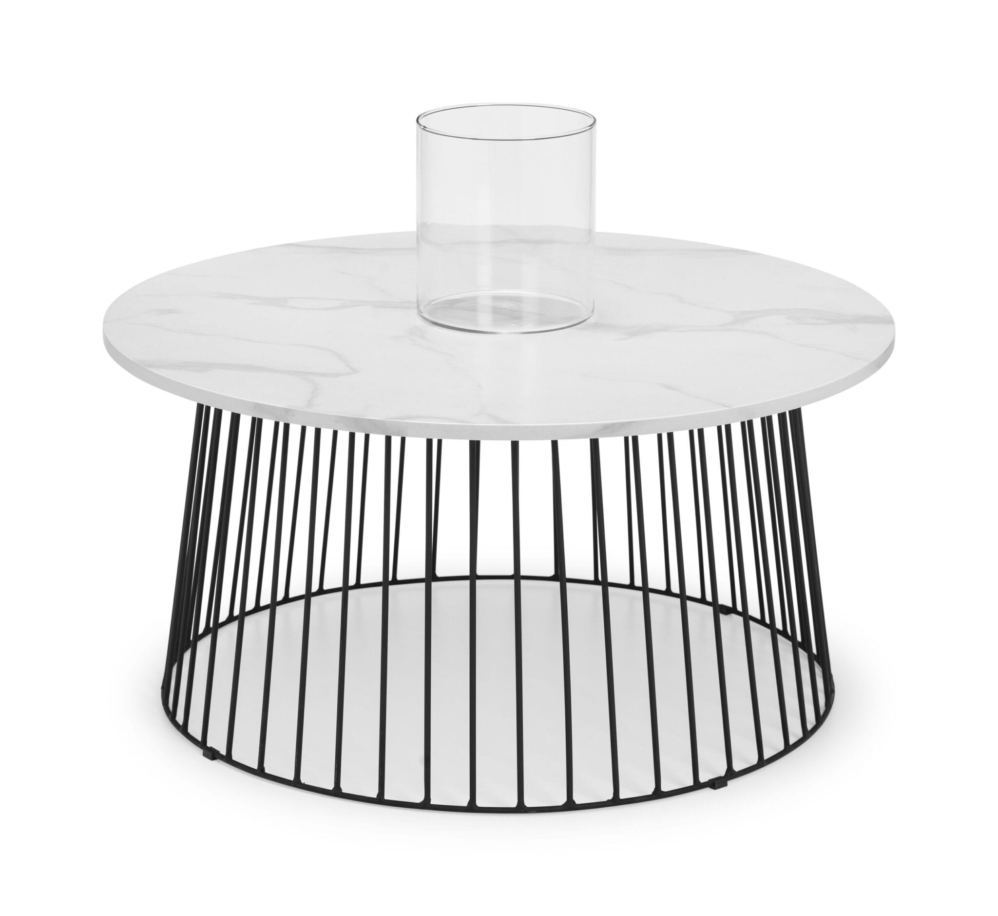 West End Round Coffee Table - White Marble