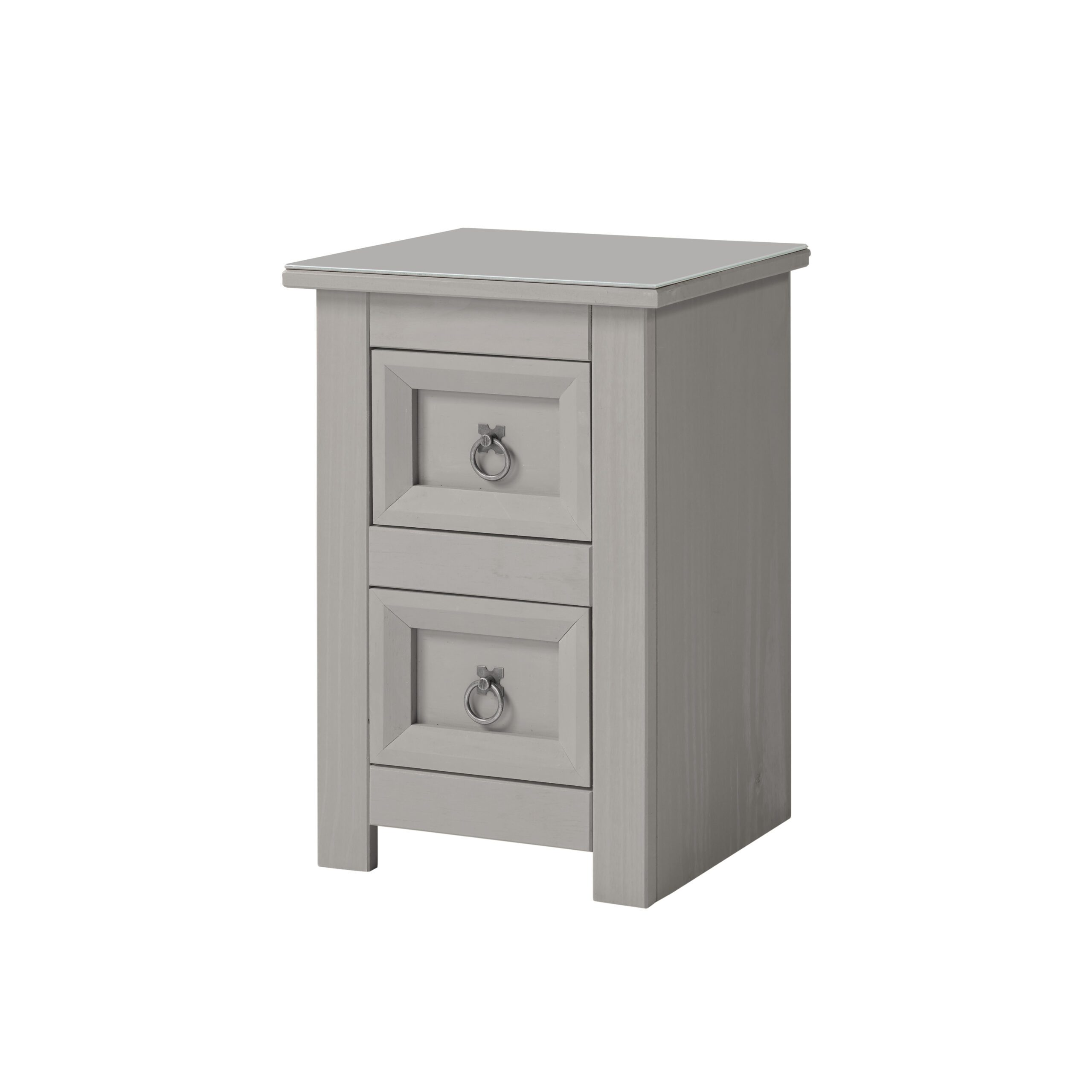 Cortini 2 drawer petite bedside cabinet with glass top