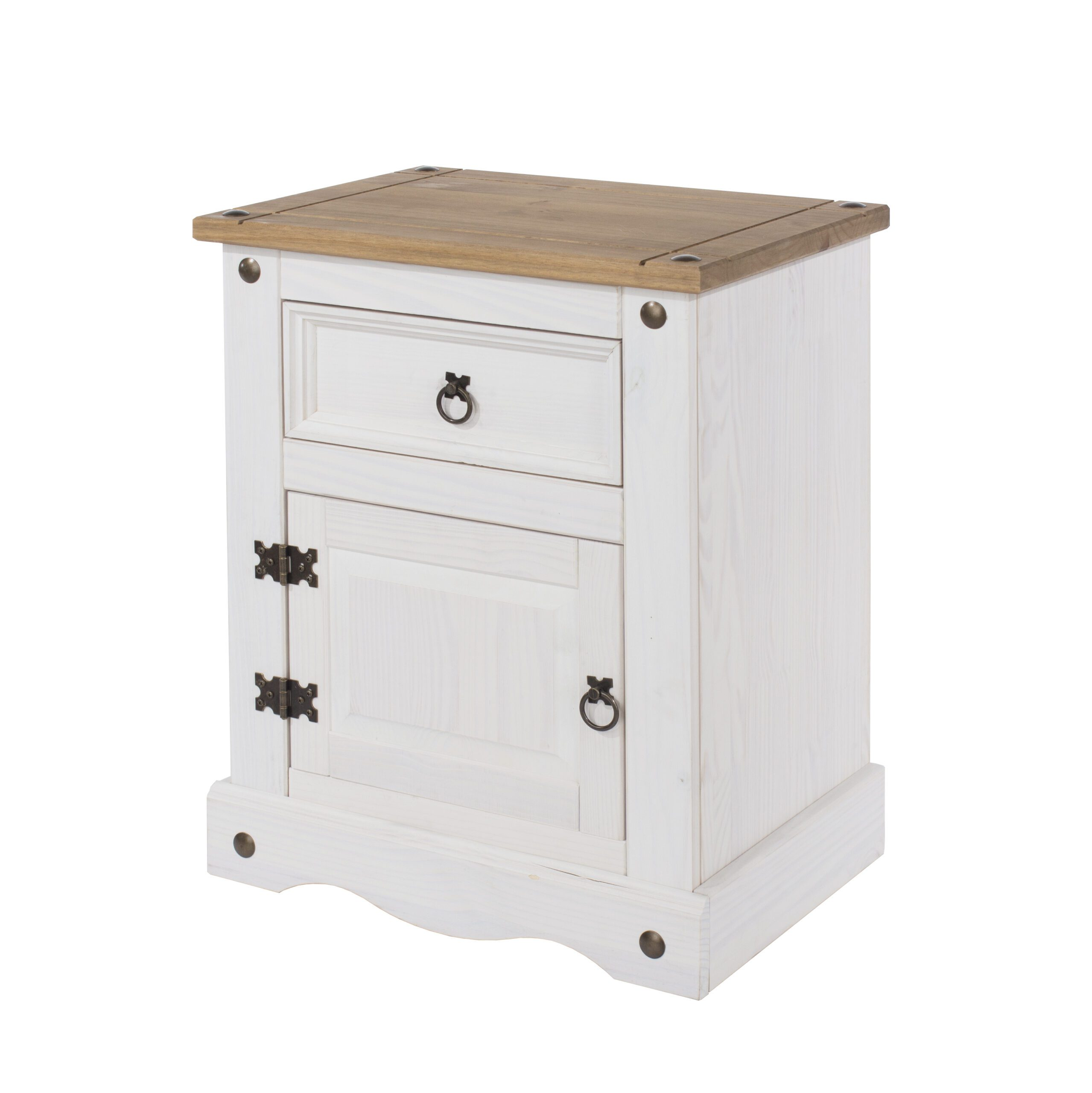 Carala Pine White 1 Door 1 Drawer White Painted Bedside Table