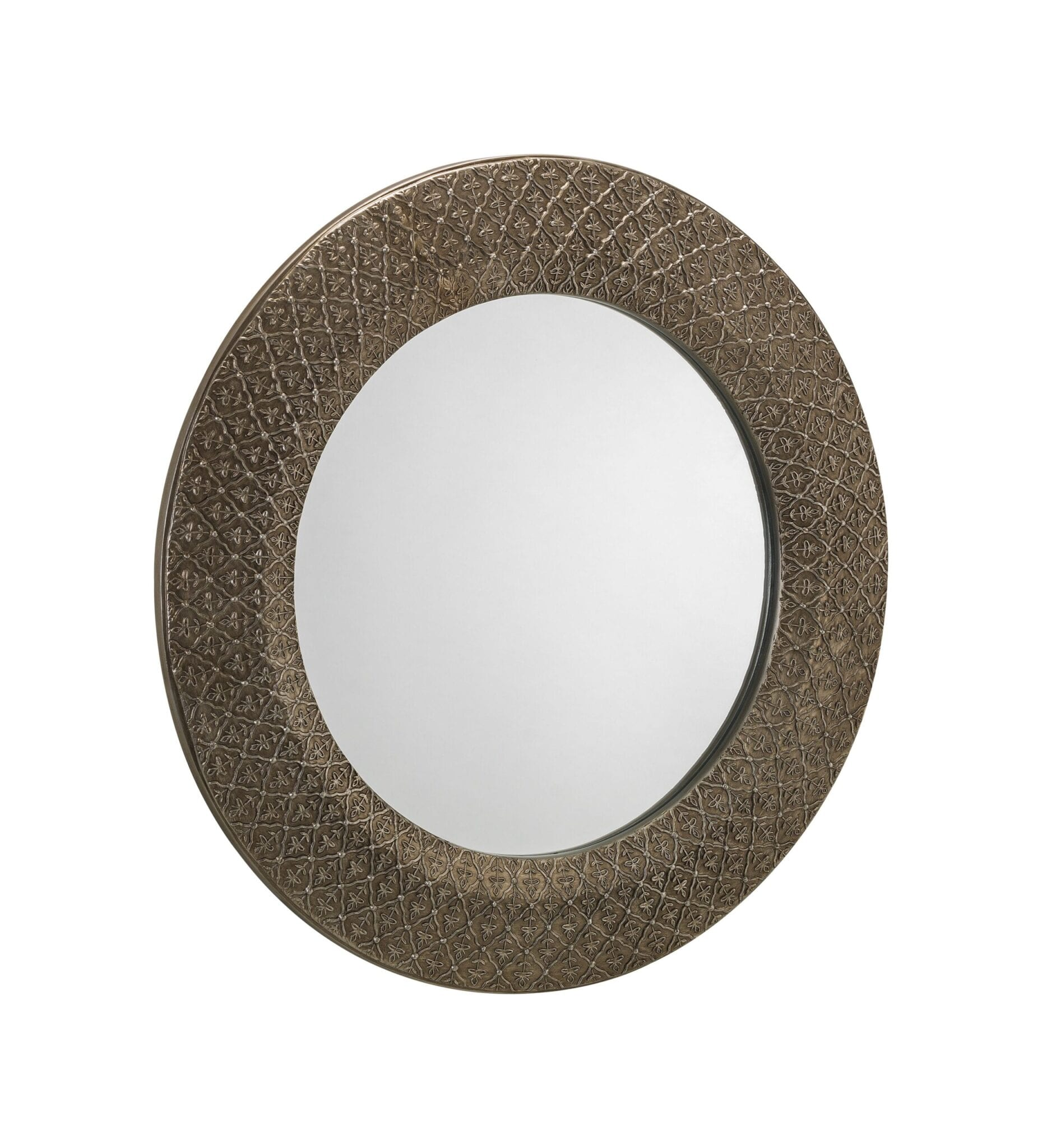 Radiance Small Round Pewter Wall Mirror