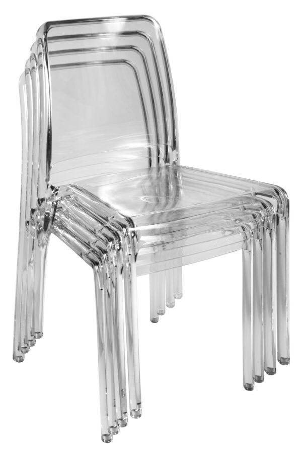 4 Charlize Acrylic Stacking Kitchen Dining Chairs - Transparent