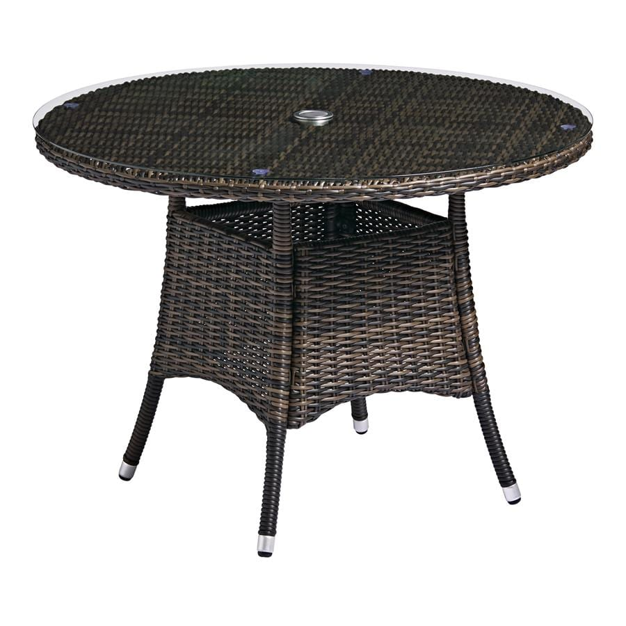 Clover Table - Brown Weave - Glass Top