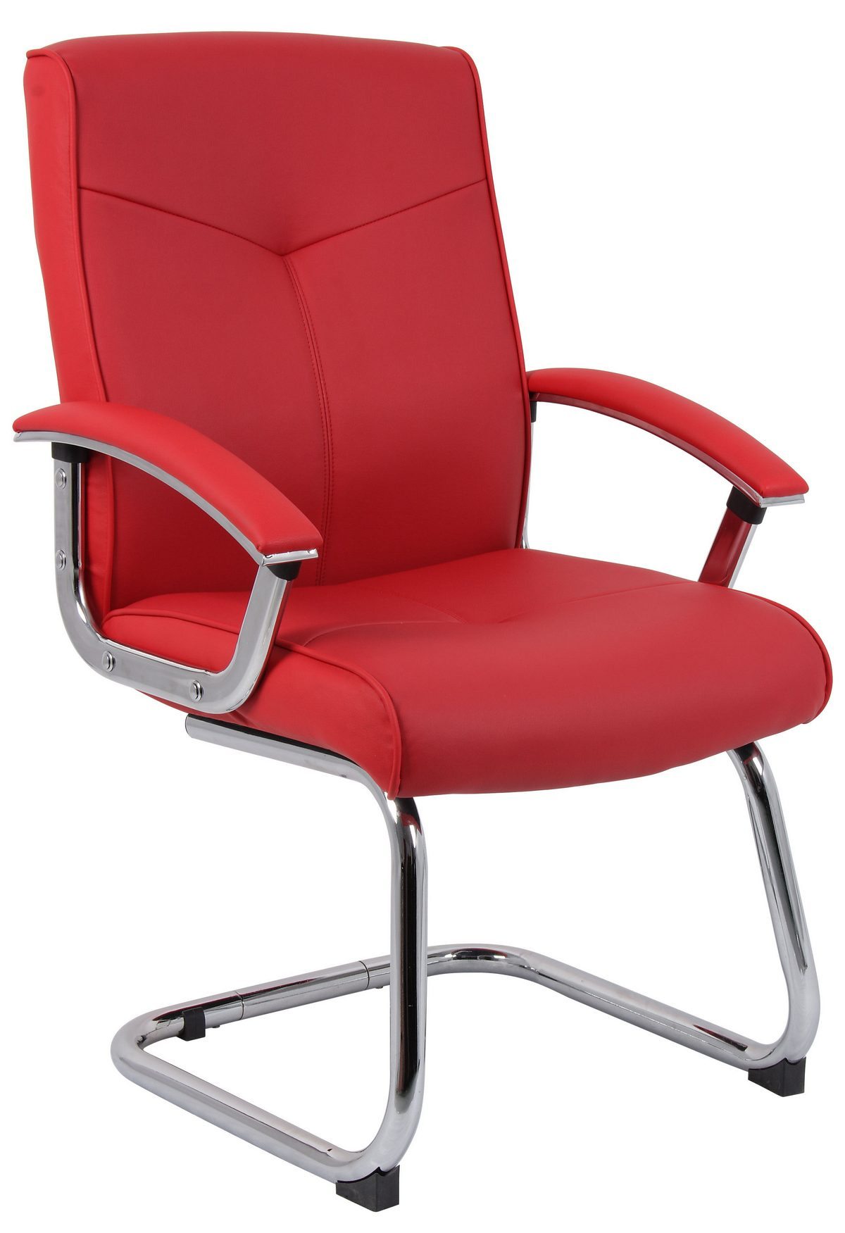 Grexikon Red Leather Faced Visitor Office Chair With Arms