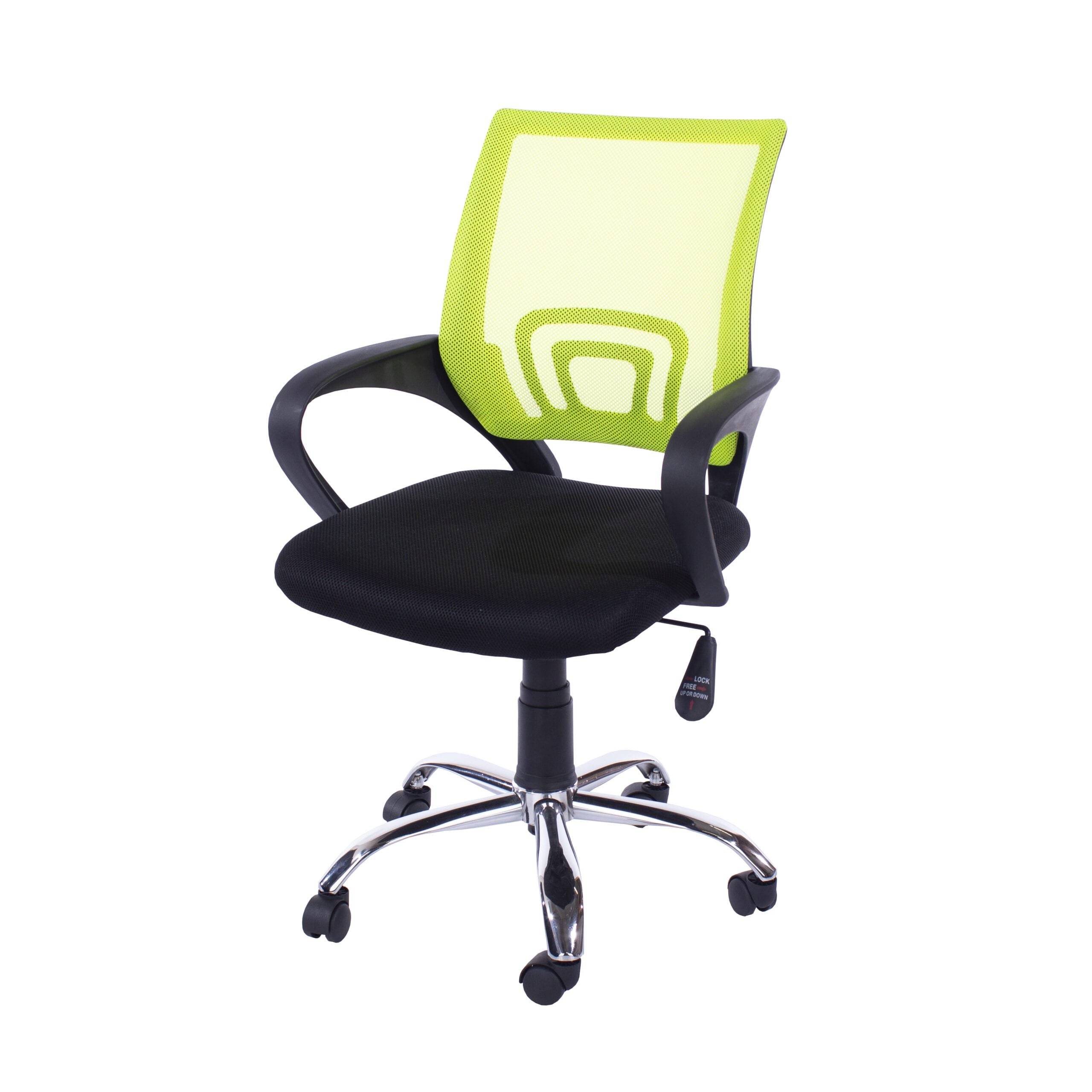 Lust study chair in lime green mesh black fabric & chrome base