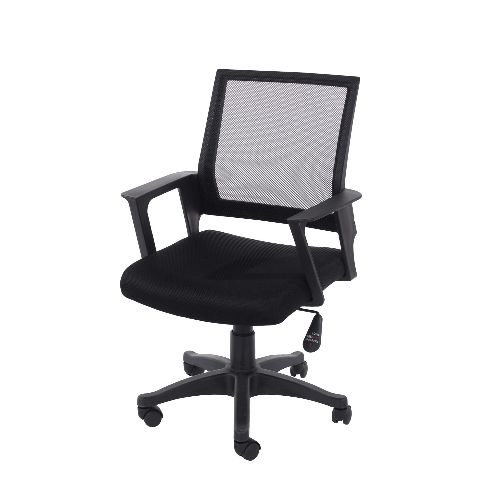 home office chair in black mesh back with black fabric seat with black base