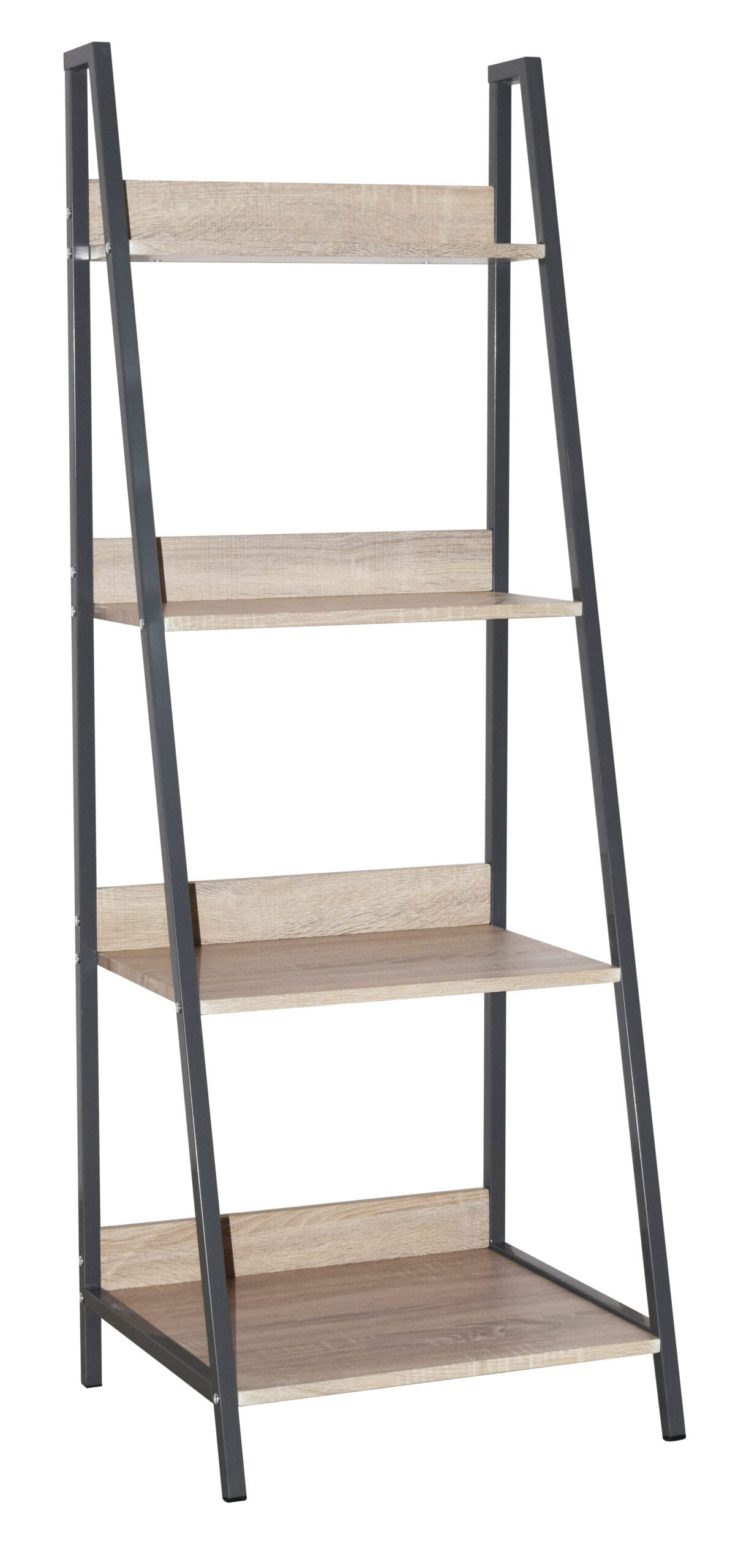 Lust ladder bookcase unit with oak effect and grey metal frames
