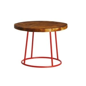 M Alorian Coffee Table - Red Base - Rustic Solid Wood Top - 600Dia