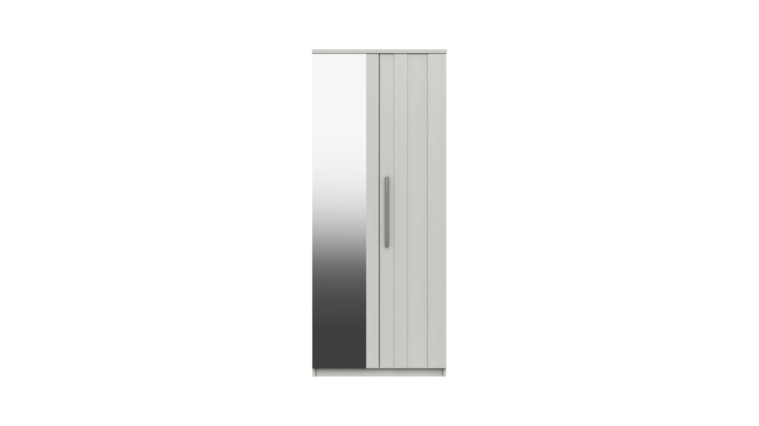 Midas Two Door Mirror Wardrobe - White Woodgrain