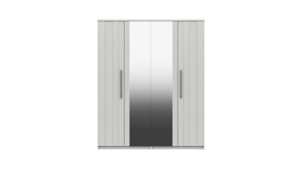 Midas Four Door Mirror Wardrobe - White Woodgrain