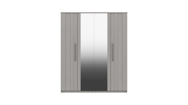 Midas Four Door Mirror Wardrobe - Light Grey Woodgrain
