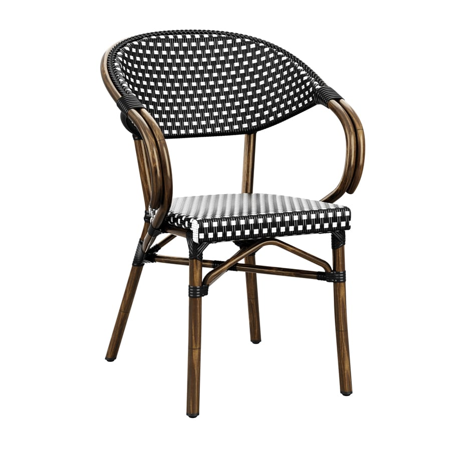 Parlance Stacking Armchair - Nero & Black Weave
