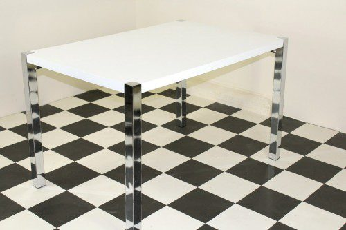 Penny rectangular exttending table with metal legs