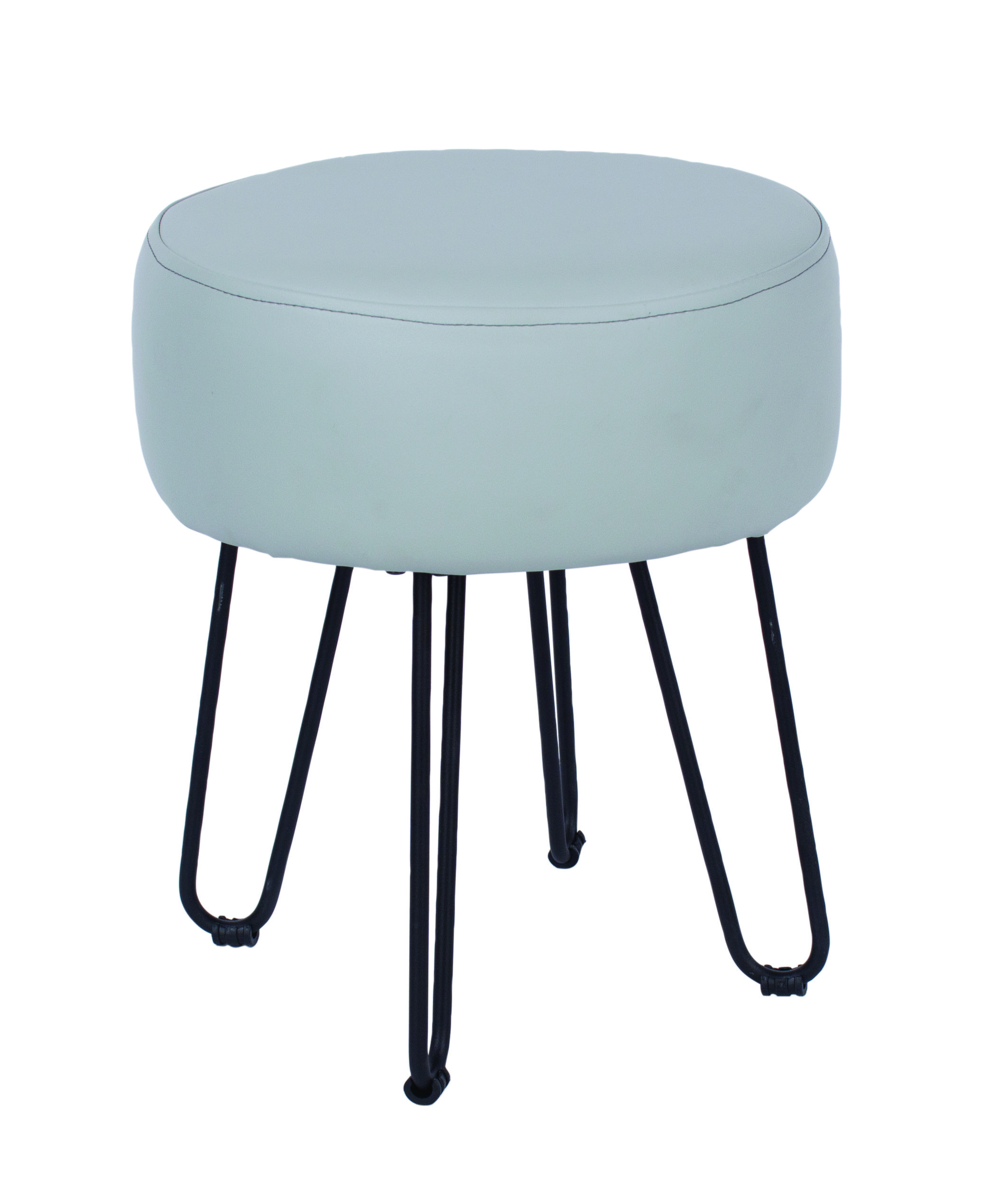 Furry grey PU upholstered round stool with black metal legs