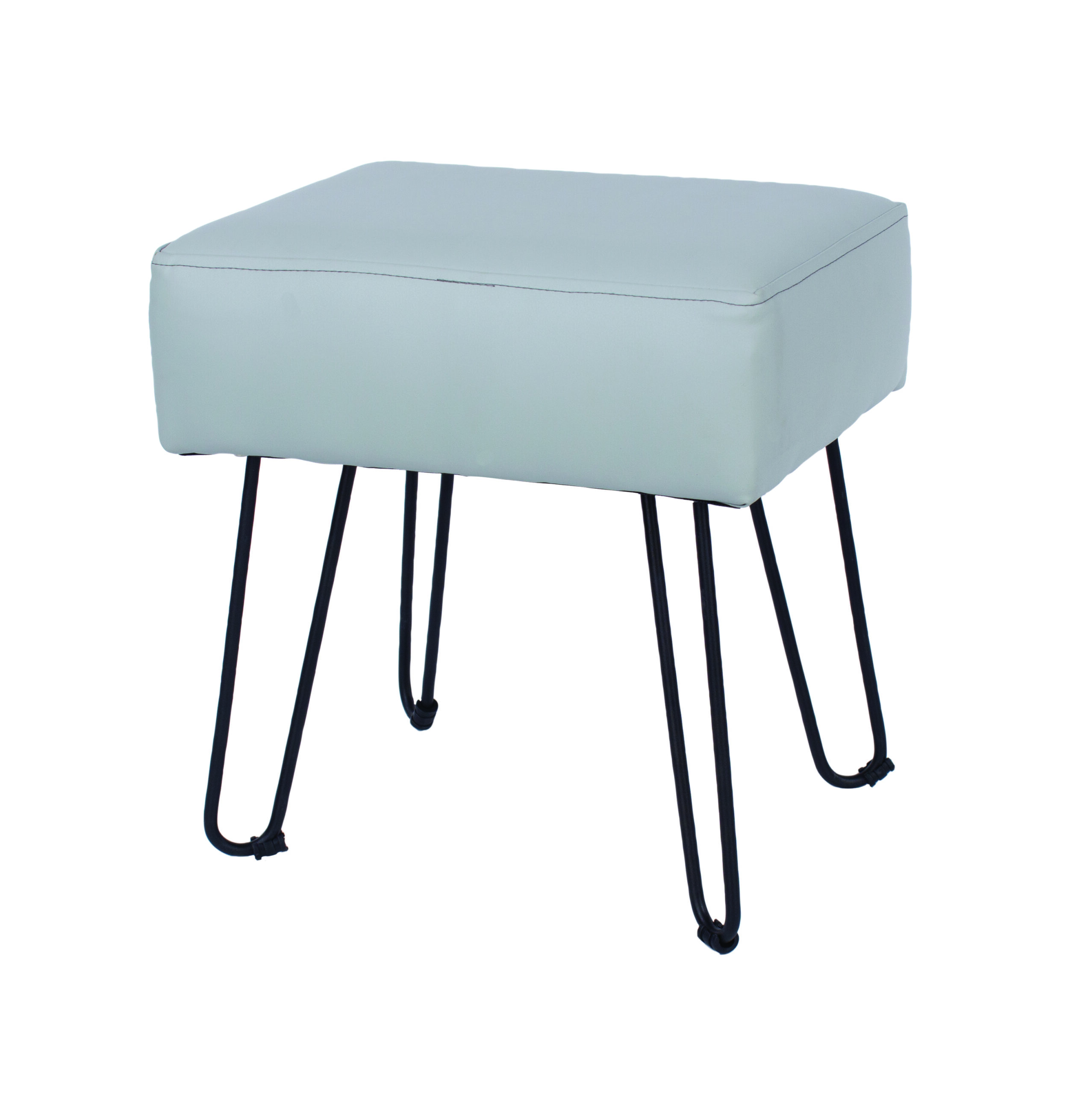Furry grey PU upholstered rectangular stool with black metal legs