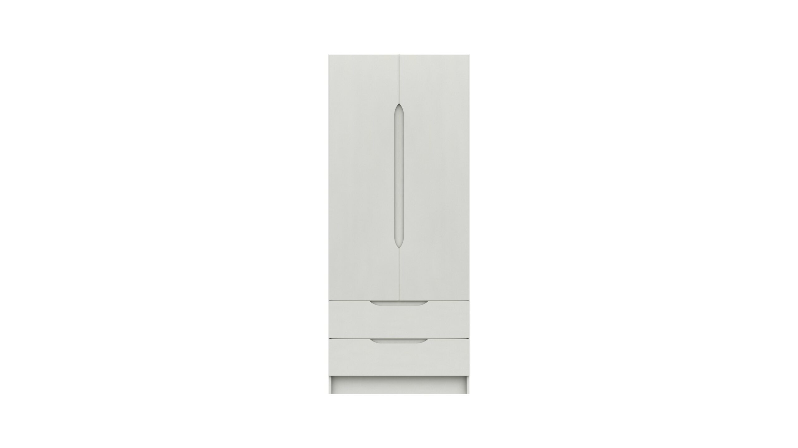 Sinata Two Door Two Drawer Gloss Finish Wardrobe - White Gloss