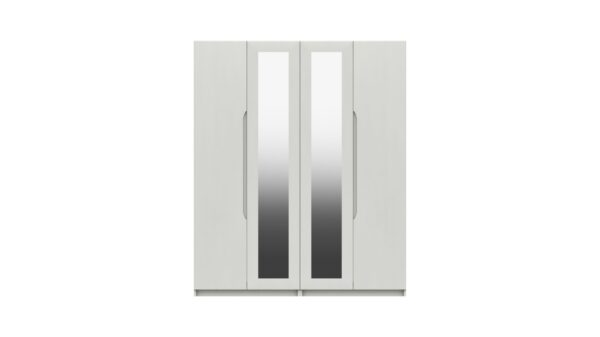 Sinata Four Door Gloss Finish Mirror Wardrobe - White Gloss
