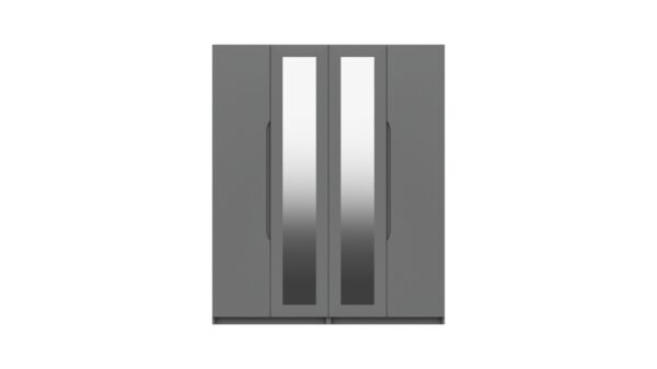Sinata Four Door Gloss Finish Mirror Wardrobe - Dust Grey Gloss
