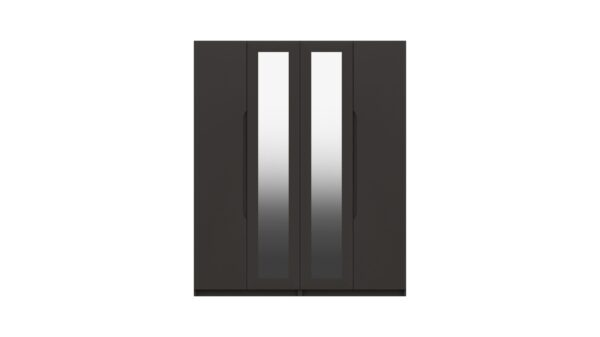 Sinata Four Door Gloss Finish Mirror Wardrobe - Graphite Gloss