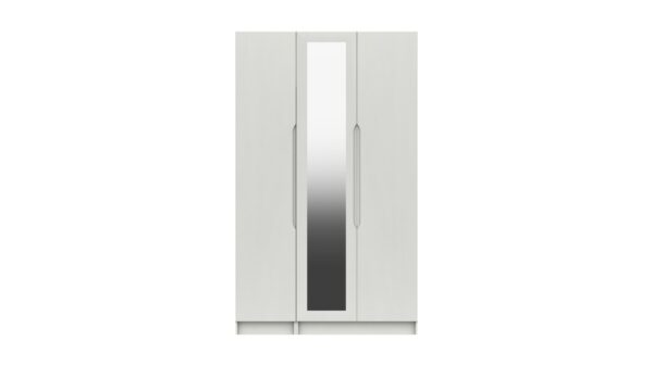 Sinata Tall Three Door Gloss Finish Mirror Wardrobe - White Gloss
