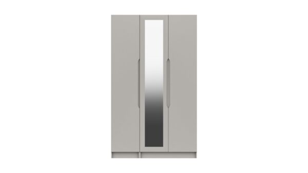 Sinata Tall Three Door Gloss Finish Mirror Wardrobe - Light Grey Gloss