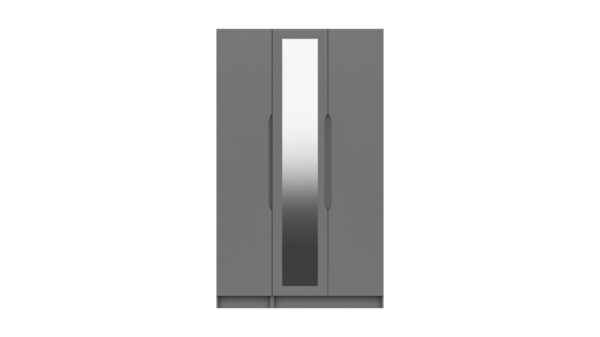 Sinata Tall Three Door Gloss Finish Mirror Wardrobe - Dust Grey Gloss