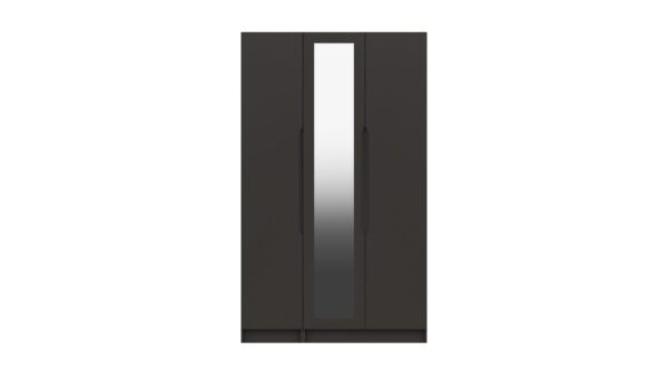 Sinata Tall Three Door Gloss Finish Mirror Wardrobe - Graphite Gloss