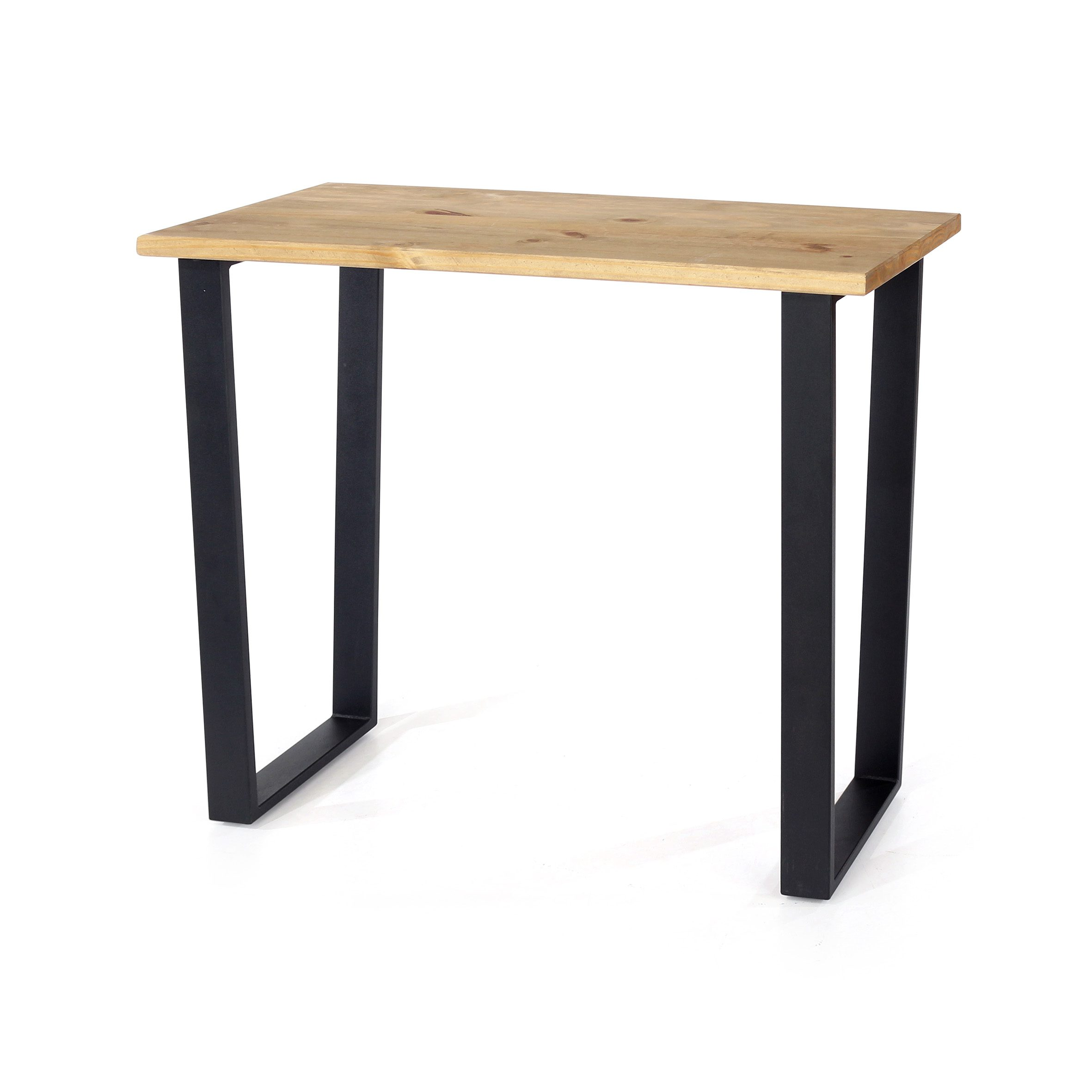 East console table with black metal legs
