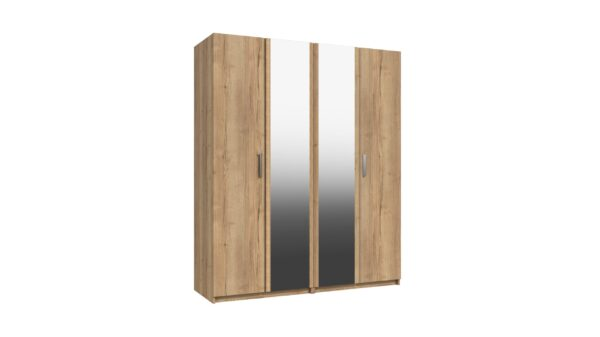 Wister Four Door Mirror Wardrobe - Natural Rustic Oak
