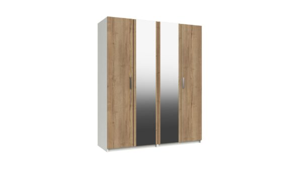 Wister Four Door Mirror Wardrobe - White and Natural Rustic Oak