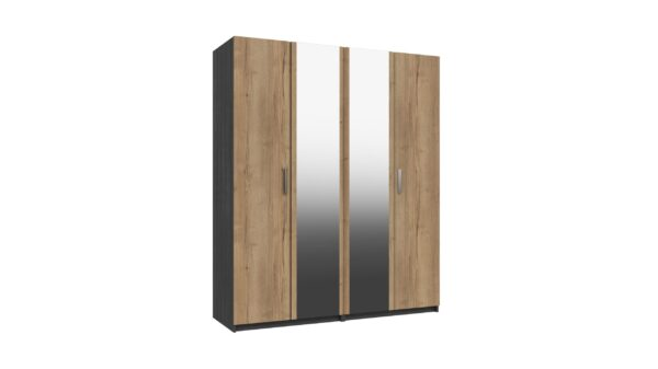Wister Four Door Mirror Wardrobe - Graphite and Natural Rustic Oak