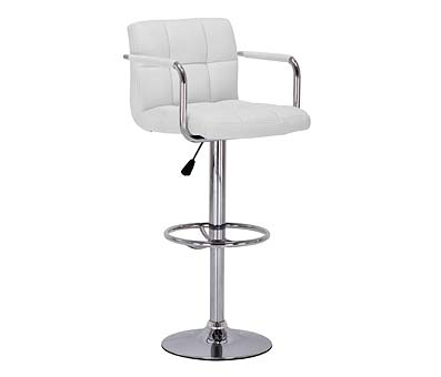 Prime Bar Stool Arms White Adjustable Height
