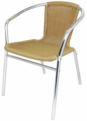 Supony 4 Chairs Aluminium And Natural Chairs Stackable Indoor And Outdoor Use