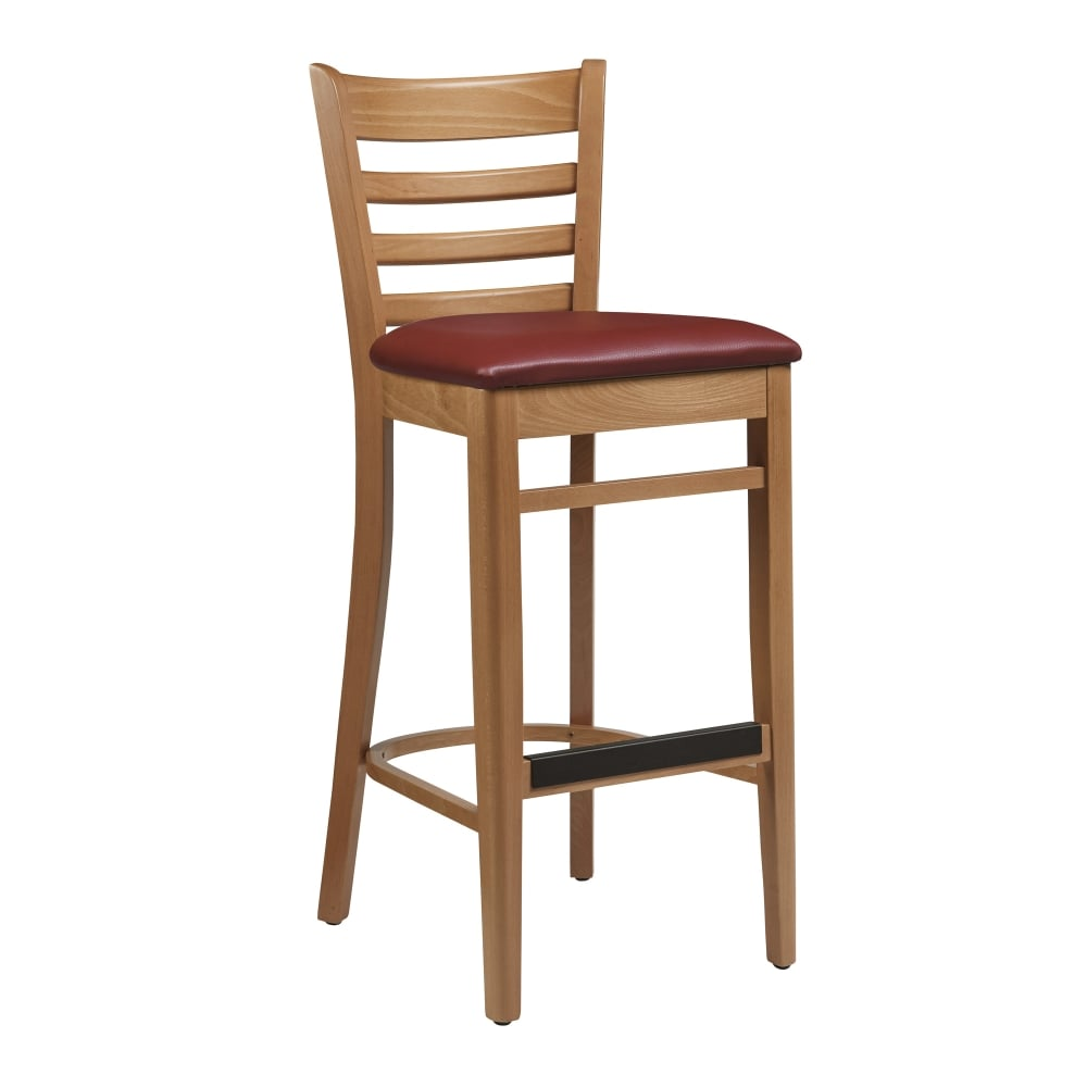 Cris to Frame Red Pad Wooden Breakfast Bar Stool